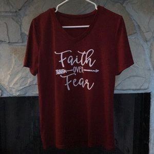 Tops - V Neck Faith Over Fear Shirt